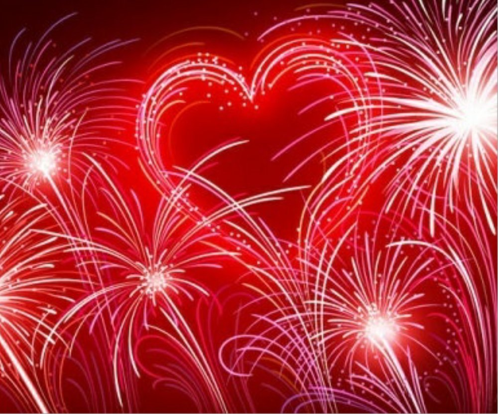 Heart within fireworks